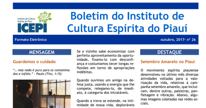 Boletim do Instituto de Cultura Espírita do Piauí – Outubro de 2017